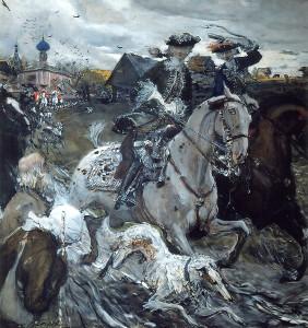 Император Пётр II и великая княжна Елисавет Петровна
