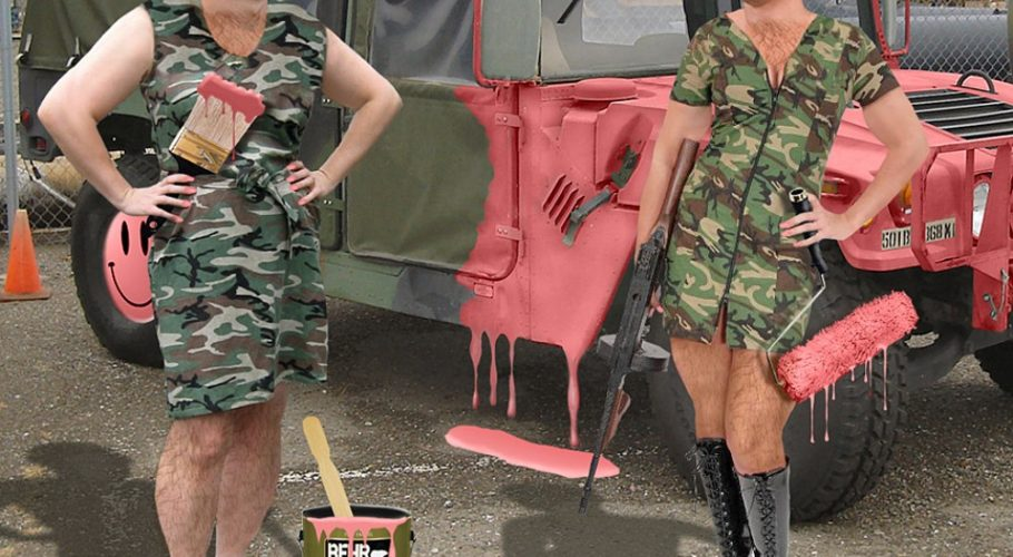 Soldiers-in-Dresses-Painting-Jeep-Pink-84922