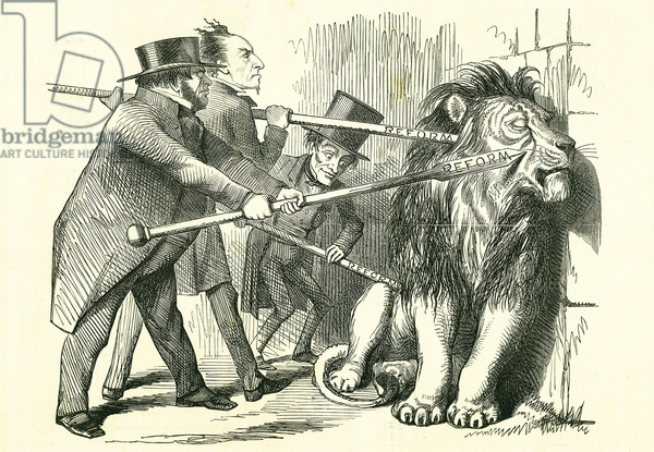 Who Will Rouse Him?: Reform of Parliament - extension of the franchise. John Bright, Benjamin Disraeli and Lord John Russell (left to right) attempting to prod the British Lion into accepting a Reform Bill. John Tenniel cartoon from Punch, London, 12 March 1859.